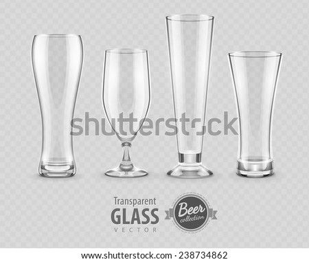 Glasses for beer drinking in pub empty set. Eps10 vector illustration, transparent objects can be placed on any background. - stock vector