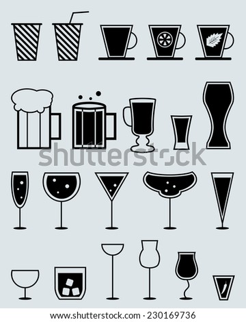 glasses for drinks. cocktail, tea, beer beverages vector silhouette set