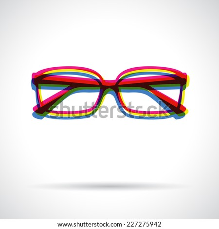 Glasses icon. Anaglyph 3d symbol with shadow. - stock vector