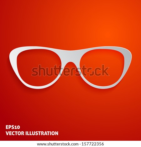 Glasses icon on red background. Vector illustration - stock vector