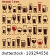 Glasses icons set. Beer glass isolated icons collection. Wine glass. Cups. - stock photo
