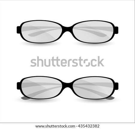 Glasses, isolated objects. Illustration. White background. - stock vector