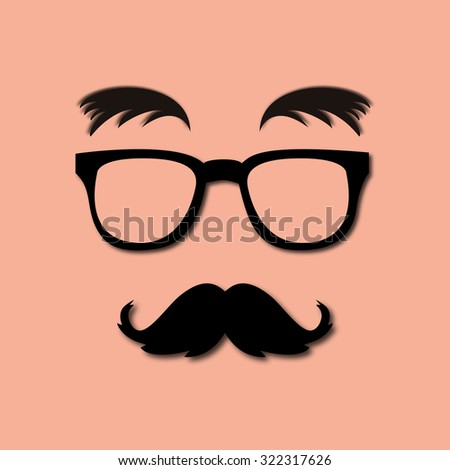 glasses, mustache and eyebrows lush - stock vector