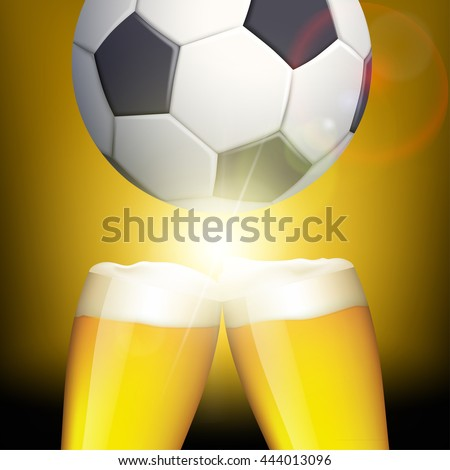 Glasses of beer and a soccer ball. Celebrating victory. Stock vector illustration.
