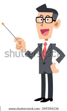 Glasses of businessman with a pointing stick