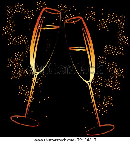 glasses of champagne - stock vector