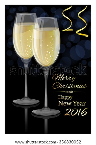 Glasses of champagne on a black background. Happy New Year 2016. Vector Christmas card.