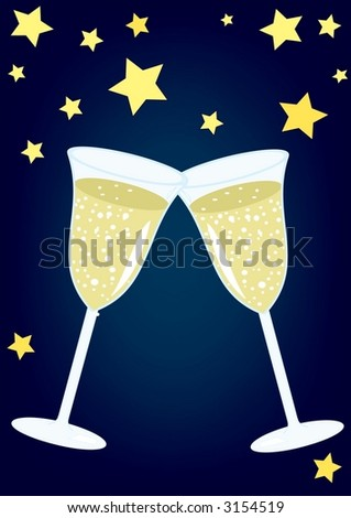 Glasses of champagne (vector) - stock vector