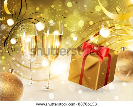 Glasses of champagne with gold ribbon gifts and Christmas balls for bright Xmas design - stock vector