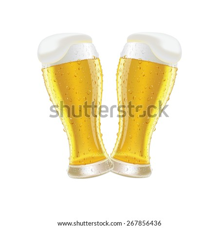 Glasses of fresh beer with cap of foam and water drop isolated on white background vector illustration  - stock vector