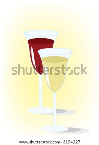Glasses of red and white wine (vector) - stock vector