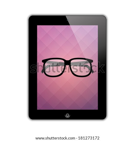 glasses on the screen tablet. vector eps10 - stock vector