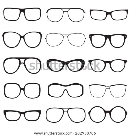 Glasses outline set. Sunglasses black silhouettes isolated on white background. Vector illustration. - stock vector