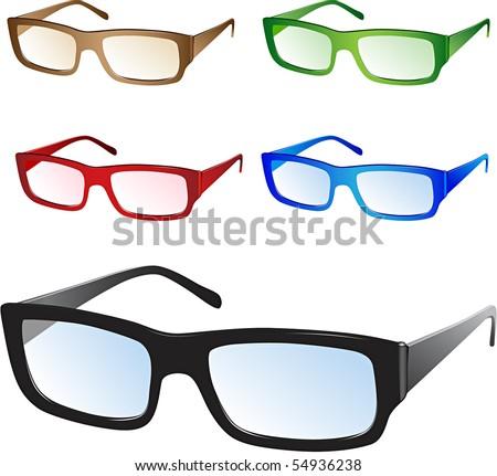Glasses - vector - stock vector
