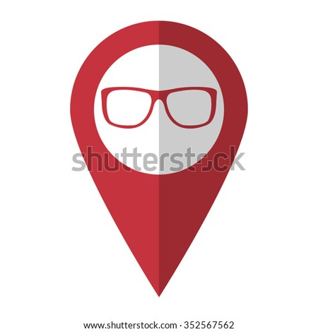 glasses - vector icon; red map  pointer - stock vector