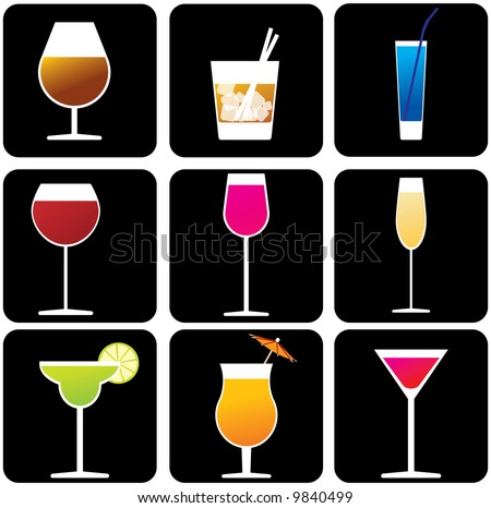 Glasses with alcoholic drinks - stock vector