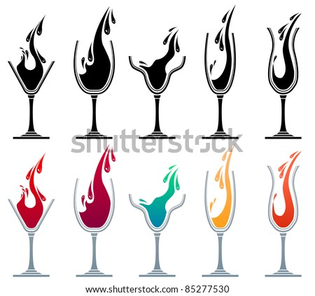 Glasses with different drinks. Colour and monochrome versions. - stock vector