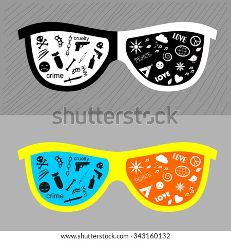 Glasses with different lenses. Points through which the world looks positively and negatively.  - stock vector