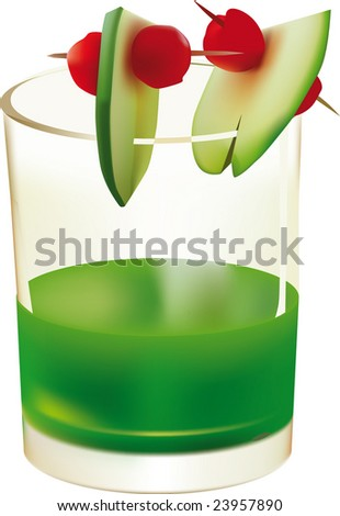 Glasses with green drink and fruit - stock vector
