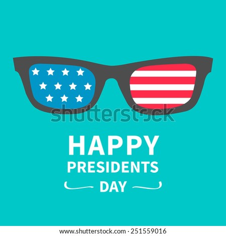 Glasses with stars and strips.  Presidents Day background flat design Vector illustration - stock vector