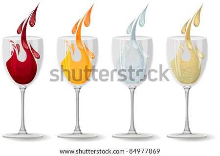 Glasses with wine, juice,champagne and water on white - stock vector