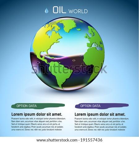 glasses world oil stock background concept. vector illustration design - stock vector