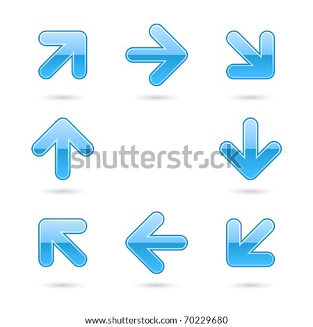 Glassy blue arrow icon web 2.0 button with drop shadow on white background - stock vector