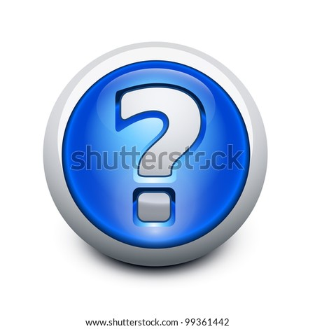 Glassy button with Question mark - stock vector