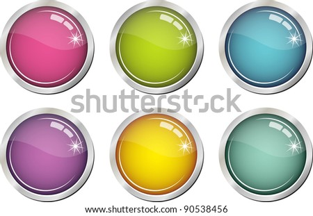 Glassy colorful buttons - stock vector