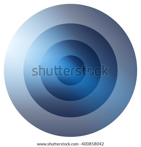 Glassy colorful radiating, concentric circles element. Glowing bright colorful icon, shape on white - Blue version - stock vector
