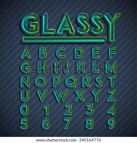 Glassy font, vector - stock vector