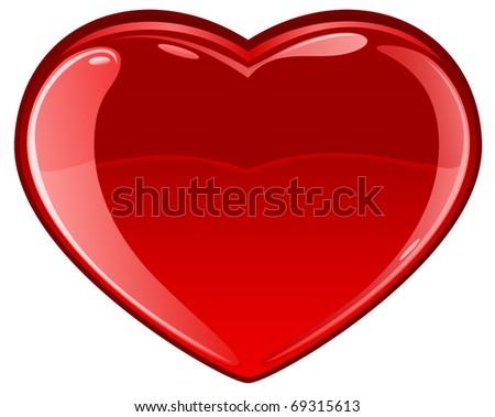 Glassy Heart on white background, illustration - stock vector