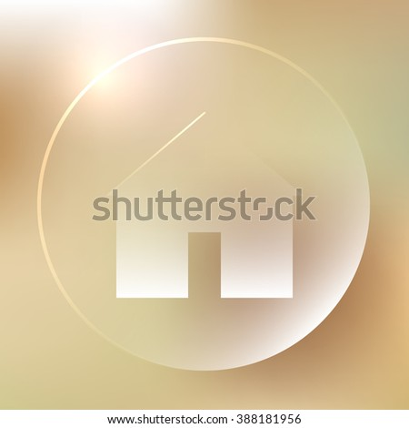 Glassy house icon. Home button. Vector illustration - stock vector