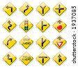 Glassy US road sign icons - vector - stock photo