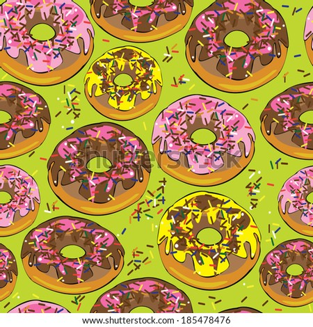 glazed donuts seamless pattern - stock vector