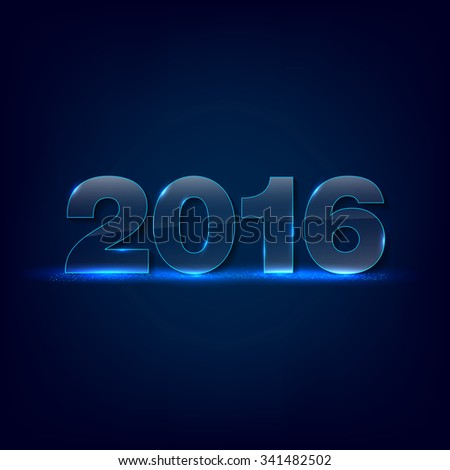 Gleaming glass inscription 2016 on dark background - greeting card for New Year 2016 - place for text. Vector illustration.