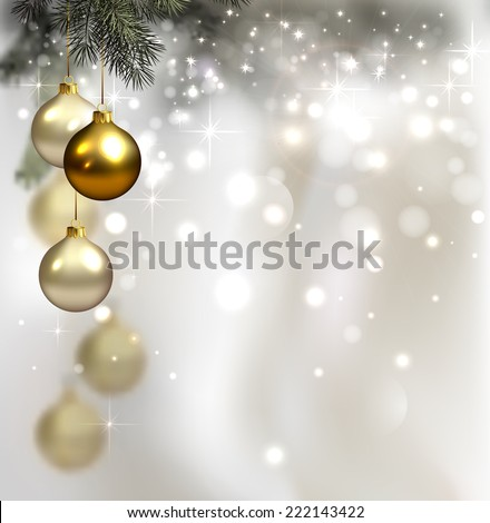 glimmered Christmas background with evening balls  - stock vector