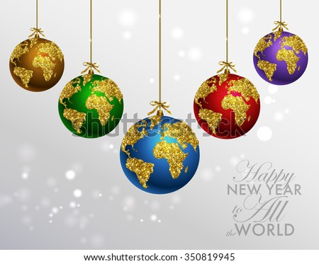 Glitter christmas ball world map greeting stock vector 2018 glitter christmas ball with world map greeting card with typography and gold world globe gumiabroncs Images