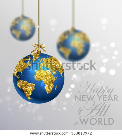 Glitter christmas ball world map greeting stock vector 350819972 glitter christmas ball with world map greeting card with typography and gold world globe gumiabroncs Gallery