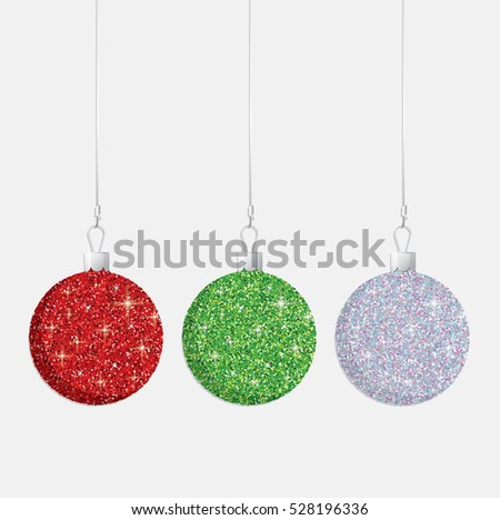 Glitter Christmas baubles in vector format.