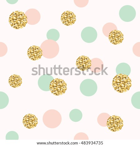 Glitter Confetti Polka Dot Seamless Pattern Background Golden Pink And Blue Trendy Colors