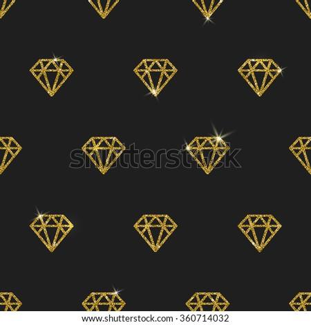 Glitter gold diamonds - vector seamless background - stock vector