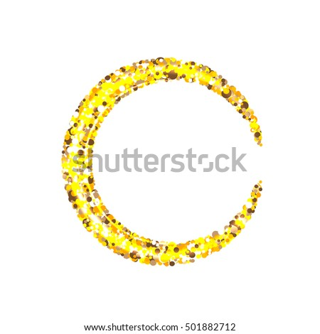 Glitter gold moon on a white background