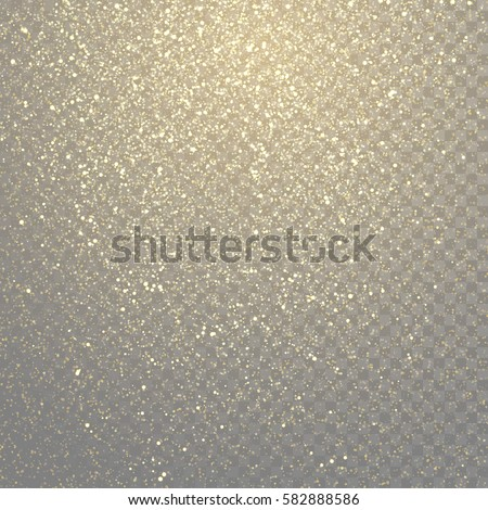 Glitter gold particles light shine effect on transparent vector background