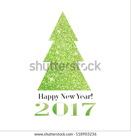 Glitter green Christmas tree with the text Happy New Year