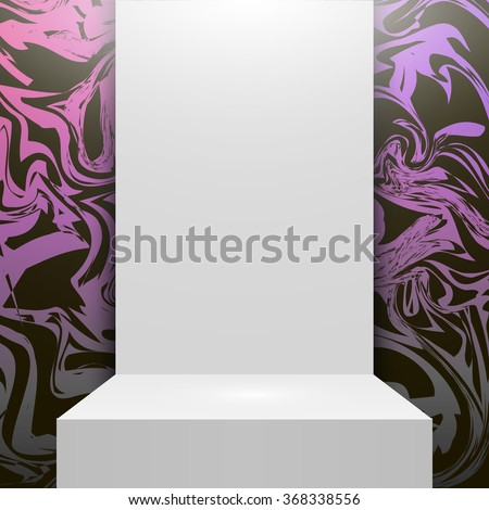 Glitter marbled glitter texture. Pink background. Glitter background. Stage podium. Empty white podium Isolated. Glitter marble background. Vector pink glitter background. Design studio. Interior. - stock vector
