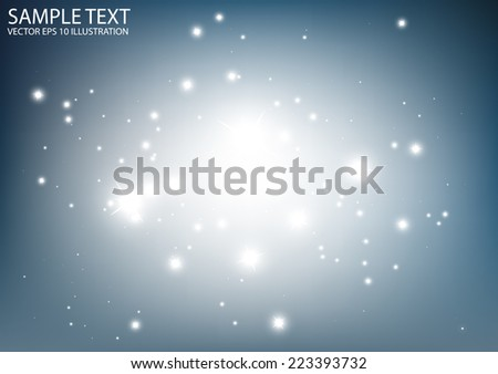 Glittering blue vector background illustration - Vector abstract blue space sparkling  template - stock vector