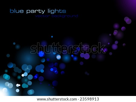 glittering blurry blue lights against a black background - abstract vector illustration - stock vector