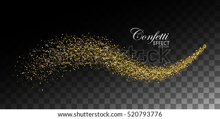 Glittering golden stream of sparkles. Abstract vector illustration of golden glitter stream isolated on checkered transparent background. Light glowing burst effect