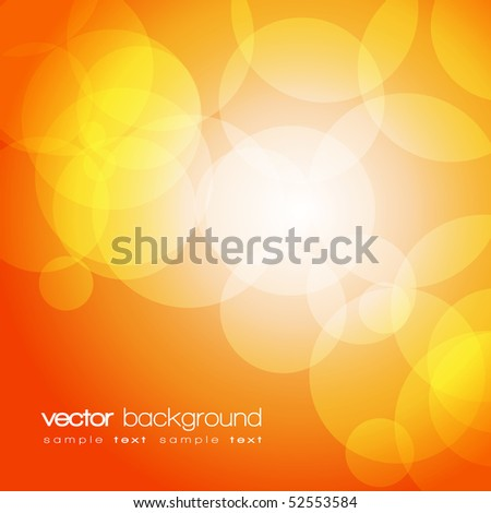 Glittering orange lights background with text - vector - stock vector